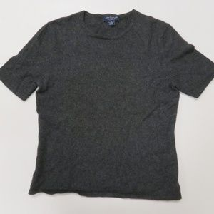 Ann Taylor 100% Cashmere Gray Short Sleeve Sweater